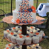 Orange and Navy Brides Cake with Cupcakes