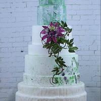 Wedding cake with passion flower