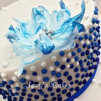 Ombre blue dots and rice paper flower