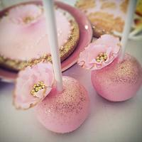 Pink and Gold Wedding cake pops and cookies