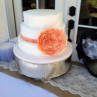 Shabby Chic Wedding Cake by Sweets By Monica