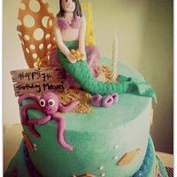Mermaid/under the Sea themed Cake by Tina Salvo Cakes