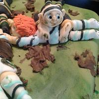 Rugby scrum cake by Karen's Kakery