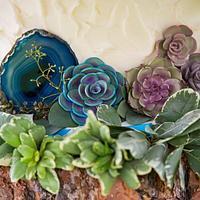 Textured Succulent Wedding Cake