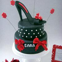 Black and Red Stiletto Cake