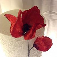 Poppy, wafer paper flower