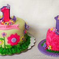 Flowers and Butterflies 1st Birthday Cake with Matching Smash Cake