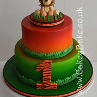 Airbrushed Jungle 1st Birthday Cake