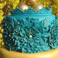teal and gold wedding cake by Farnaz