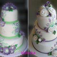 White, lavender and green