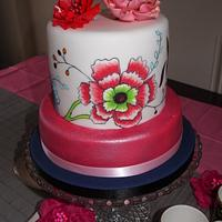 Painted floral china cup cake