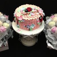 Ladybug Pastel Ruffle Cake