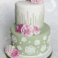 Ruffle Flower 30th Cake