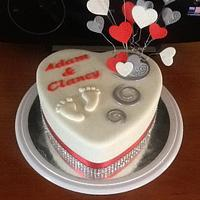Heart with little feet Engagement cake & cupcakes