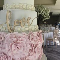 Floral ruffle wedding cake  by Claire Lynch - Quirky Cake Designs