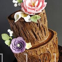 Rustic Tree Stump Cake