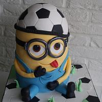 Minion soccer freak cake