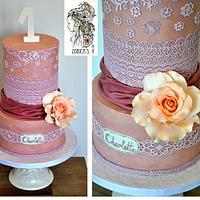 Elegant first birthday cake