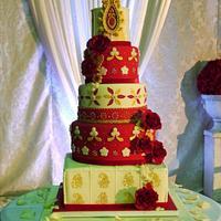 Beaded Velvet wedding cake