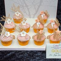Butterflies and birds lace cupcakes