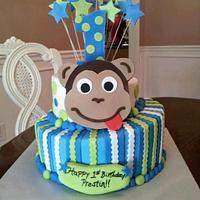 Monkey Face 1st Birthday Cake