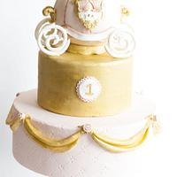 Pink & Gold Princess Carriage 1st birthday cake