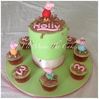 Peppa pig birthday cake and cupcakes