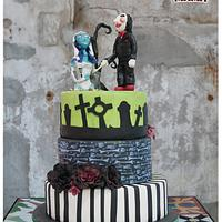 Saw & Corpse Bride Wedding Cake