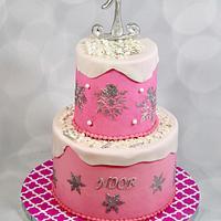 Pink winter wonderland cake