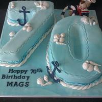 Nautical theme 70yrs  cake