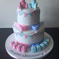 Double christening cake