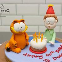 Celebrating birthday with Garfield