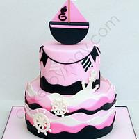 Girly Nautical Theme Cake by Cakes by Maylene