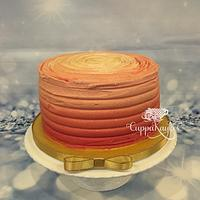 Five-layer ombré buttercream cake