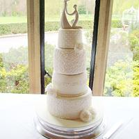 Wedding Cake With Freehand Piped detailing