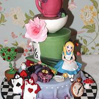 Alice in Wonderland hen do cake