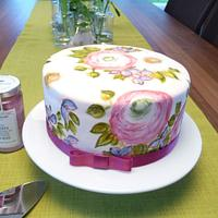Hand painted birthday cake inspired by Natasha Collins