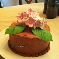 Chocolate cake with gum paste hydrangeas