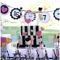 Pink&Black Wedding Sweet Table