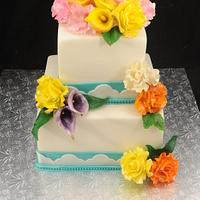 Sugar Flowers and Teal Border