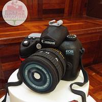 Birthday cake with Canon camera topper