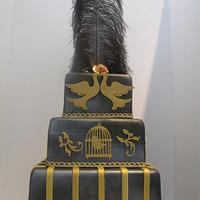 Black and Gold Wedding Cake by thecakepantry