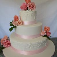 My First Wedding cake with sugar roses