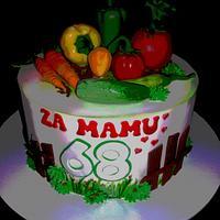 vegetables cake , garden themed cake, povrce na torti