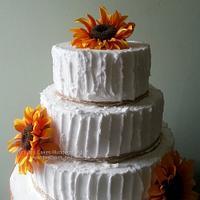 Three Tier Rustic Sunflowers Wedding Cake