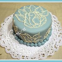 Brush Embroidery (Rose) Birthday Cake