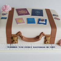 Bon Voyage to Ohio suitcase luggage cake