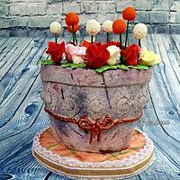 Rustic flower pot cake