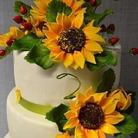 wedding sunflowers  cakes