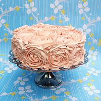 Pink Strawberry Buttercream Rose Cake